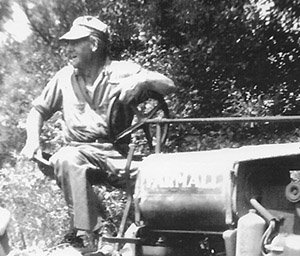 Edgar McCleary on an F-14 Farmall (one of the first tractors used on the Horn Farm).