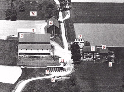 Horn Farm, circa late 1950s: 1. Main House , 2. Main Barn, 3. Corn Barn, 4. Tobacco Barn, 5. Tractor Shed, 6. Pong Shed, 7. Chicken Coop, 8. Spring House/ Wood Shed, 9. Outhouse, 10. Orchard, and 11. Fuel Shed