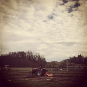 Tilling the community garden plots