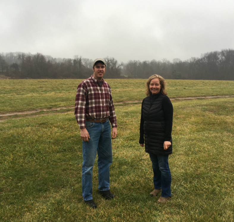 Farmer Andy Flinchbaugh (left) and Horn Farm Executive Director, Alyson Earl are excited to bring organic farming to the entire farm!