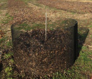 compost bin in farm field